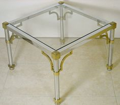 Mid Century Chrome Pair Of End Tables Fretwork Chippendale Corners Maison Jansen Hollywood Regency