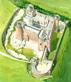An poster sized print, approx (other products available) - GOODRICH CASTLE, Herefordshire. Aerial view reconstruction drawing by Terry Ball (English Heritage Graphics Team). - Image supplied by Historic England - Poster printed in the USA Real Castles, Beautiful Castles, Welsh Castles, Chateau Medieval, Medieval Castle, Castle Illustration, Château Fort, Fantasy Castle, English Heritage