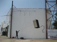 Amazing Graffiti Street Art by Banksy Banksy Graffiti, Street Art Banksy, Banksy Work, Bansky, Graffiti Bridge, Graffiti Wall, Banksy Canvas Prints, Designer Couch, Mr Brainwash