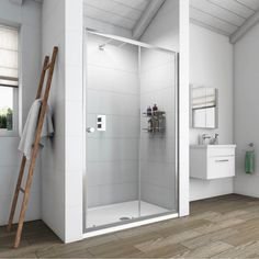Simplicity 1200 Sliding Door - Victoria Plumb - wall to wall across full width of room? Shower Sliding Glass Door, Shower Doors, Sliding Doors, Bathroom Sealants, Small Bathroom With Shower, Bathroom Mirror Cabinet, Downstairs Toilet, Safety Glass, Shower Enclosure