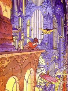Looking down on the City of Tomorrow -- art by Jean Henri Gaston Giraud