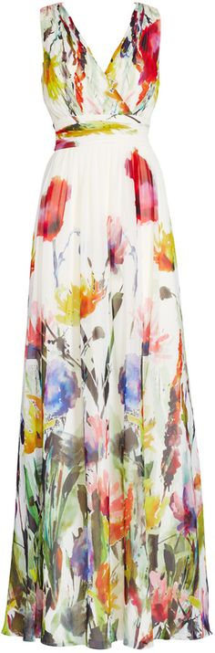 Badgley Mischka Painted Petals Maxi Dress