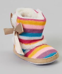 Look at this Charmington Boutique Rainbow Stripe Bow Boot on #zulily today!