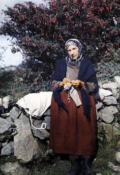 Photos of Ireland, 1920's. Image by Clifton R. Adams, (c) National Geographic. Woman knits beside a fuchsia tree in Galway.