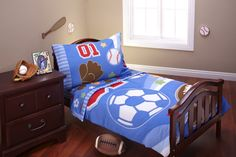 Lil All Stars 4 Pc Toddler Sports Baseball Football Soccer Bedding Set NEW
