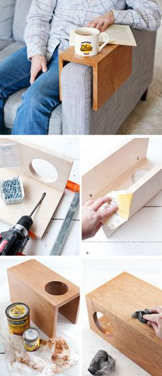 Wooden Sofa Sleeve with Cup Holder | Click Pic for 22 Easy to Make Mothers Day Gifts from Adults | DIY Birthday Gifts for Friends