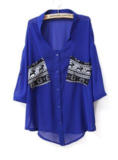 Pockets Color Metching V Neck Chiffon Shirt Blue my-style