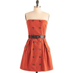 Safari Mid-length Strapless A-line First Classy Dress by ModCloth ($55) ❤ liked on Polyvore featuring dresses, orange, apparel, fashion dress, safari dress, strapless dress, fitted mid length dresses, mandarin dress and red orange dress