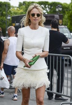 Women's fashion | Structured ivory top with feathered skirt