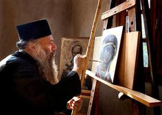 An Eastern Orthodox Monk writing an Icon of the Holy and Ever Virgin Theotokos Byzantine Icons, Byzantine Art, Religious Icons, Religious Art, Artist Life, Artist At Work, Writing Icon, Workshop, Bible Images