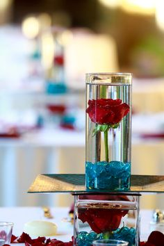 Red & Blue Wedding Reception Centerpieces by Blume Events Red Wedding Receptions, Red Wedding Centerpieces, Blue Wedding Decorations, Wedding Reception Centerpieces, Table Decorations, Blue Red Wedding, Baby Blue Weddings, Wedding Colors, Wedding Ideas