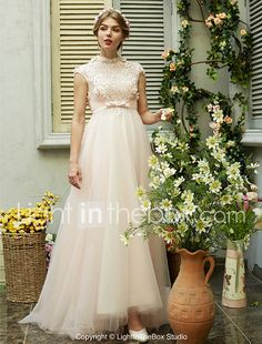 2017 LAN TING BRIDE A-line Wedding Dress - Chic & Modern Beautiful Back Sweep / Brush Train High Neck Tulle withBeading Bow Flower Sash / 2017 - $249.99
