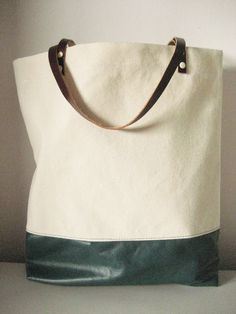 Canvas and Leather Shopper Tote in Ivory and Teal Featured in Country Living Magazine. $45.00, via Etsy.