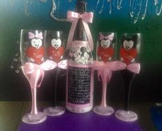 Pahare botez pictate manual roz Craiova - imagine 2
