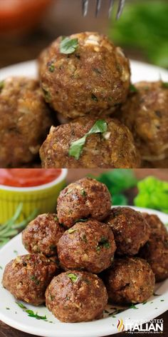 Italian Herb Baked Meatballs are the perfect recipe to learn how to make meatballs the right way. They are truly the most amazing meatballs we have ever had. Our baked meatballs are beautifully browned on the outside and tender and juicy on the inside. Best Italian Recipes, Mexican Food Recipes, Greek Recipes, How To Make Meatballs, Healthy Meatballs, Gluten Free Meatballs, Perfect Food, Appetizer Recipes, Meat Appetizers