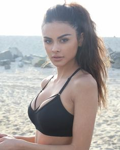 Pretty, exotically beautiful internet model and fitness coach Sophia Miacova on the beach in a black sports bra. Sophia Miacova, Yovanna Ventura, Sexy, Foto Pose, Girl Pictures, Cool Kids, Bikinis, Swimwear, Swimsuits