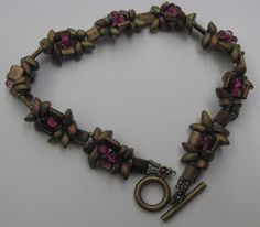 Geometric Flowers Bracelet in color Safari Reflections, an original design by Cheryl Erickson.  Instructions and kits available in this and other colors from www.artisticbead.com
