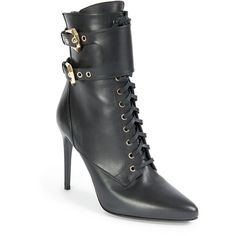 Balmain Nina Leather Ranger Booties ($1,640) ❤ liked on Polyvore featuring shoes, boots, ankle booties, apparel & accessories, black, lace up booties, work boots, black booties, black leather boots and black work boots