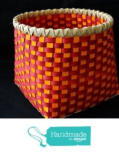 Hand woven Basket in Cherry Red and Sunshine Orange. Large Storage Basket. Hand made baskets in fun colors! from Color Basket Studio https://www.amazon.com/dp/B01DL5OROA/ref=hnd_sw_r_pi_dp_htTAyb24ACFM1 #handmadeatamazon
