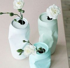 Diy tall-boy painted cans  So pretty!