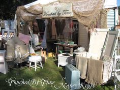 Nancy Kruse of Touched By Time .. TVM 2012 .. Stunning Display of authentic Vintage Wares ...
