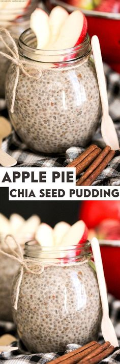 Healthy Apple Pie Chia Seed Pudding! Get the flavors of Apple Pie in a healthier package with this tasty pudding! (refined sugar free, low fat, low calorie, high fiber, gluten free, vegan)
