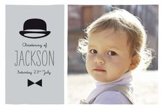 Invite your loved ones to witness you little boy's first religious milestone in style with our Dandy Christening invitations. Designed by Marion Bizet, these Christening invitations feature a charming illustration of a bow tie and bowler hat with space in between them to add your little one's name and Christening date. #stylishchristeninginvitations #boychristeninginvitations #photochristeninginvitations