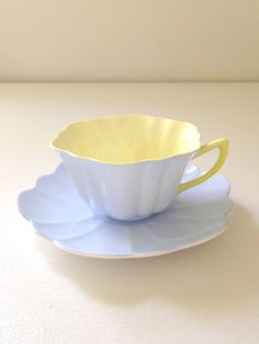 Antique Rare Shelley English Fine Bone China Pastel Blue & Yellow Stratford Shape Wedding Gift Inspiration - c. 1940 - 1966