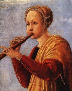 """The Muse Euterpe by Francesco del Cossa.  n Greek mythology, Euterpe was one of the Muses, the daughters of Mnemosyne, fathered by Zeus. Called the """"Giver of delight"""", when later poets assigned roles to each of the Muses, she was the muse of music. In late Classical times she was named muse of lyric poetry and depicted holding a flute. A few say she invented the aulos or double-flute, though most mythographers credit Marsyas with its invention."""