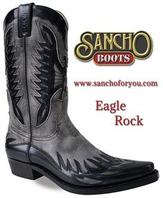 .This is Texan, masculine and modern pair of Sancho Boots due to their color, however they also have the traditional eagle design and flames on their instep.#sanchoboots #cowboyboots