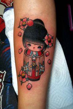 Fresh ink from Chelsea Jane at Saints and Sinners Tattoo, Garden Grove, CA. #kokeshi #kokeshidoll #kokeshidolltattoo