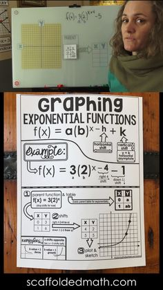 How to Graph Exponential Functions by Hand - free cheat sheet and step-by-step video Educational Activities For Kids, Math Activities, Teaching Tools, Teaching Math, Math Cheat Sheet, Algebra Formulas, Free Math, Logarithmic Functions, Math Hacks