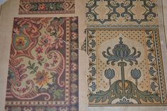 2 Antique Russian Empire Era Color Patterns by Lilivintagebox