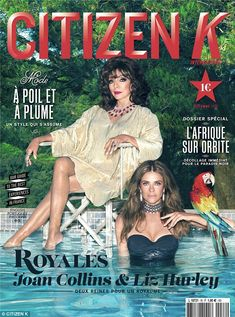 Stunning pair:Elizabeth Hurley, 50, and Joan Collins, 82, show off a sultry look on the c...