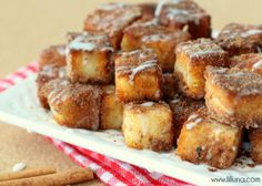 Angel Food Cake Churro Bites with glaze - DELICIOUS!! - Copy