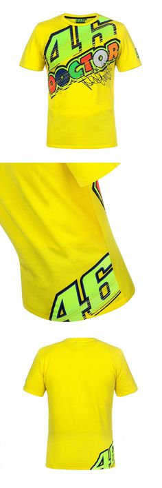 2017 VR46 Valentino Rossi  T-Shirt  Moto GP Motorcycle Racing 46 The Doctor signature Yellow T shirt