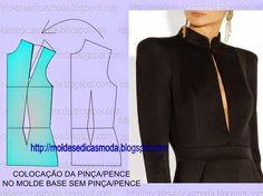 COLOCAÇÃO DA PINÇA/PENCE NO MOLDE BASE SEM PINÇA/PENCE - Moldes Moda por Medida