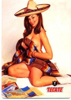 "Tecate Cerveza - Sexy Pin Up Girl - Metal Beer Sign . $9.99. This is a 5"" x 7"" metal beer sign. Image is printed on high gloss metal with a blank back."