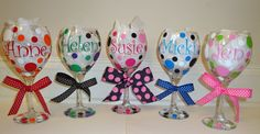 Personalized Wine Glasses Name Monogram or Initial by AvasAvenue