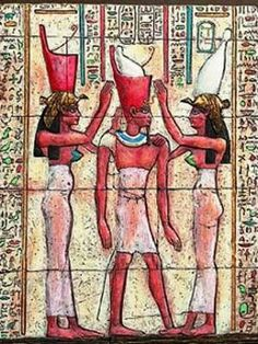 United  crown of Pharoah  from ancient  Egypt.   White  was from lower Egypt while red was from upper  Egypt.   Combined they became  one after  unification  of what now is Egypt.