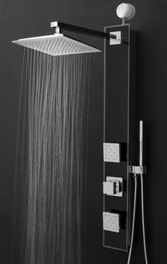 Perfetto Kitchen and Bath Easy Connect Wall Mount Tempered Glass Mirror Finish Made Rainfall Style Multi-Function Massage Shower Panel Tower System