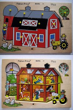 Fisher Price Barn Puzzle~loved puzzles like this.  I still have mine like this and a school bus one too!  :)