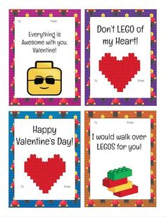 Free Printable LEGO Valentine's Day Cards for kids! Print them and slip them into your child's lunchbox every day in February or just print for their classmates!