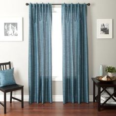 Softline Bergamo Back Tab and Rod Pocket Curtain Panel In Cobalt
