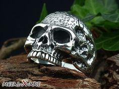 Sterling Silber 925, Schwerer Totenkopf-Ring, Skull-Ring,  Biker, Harley