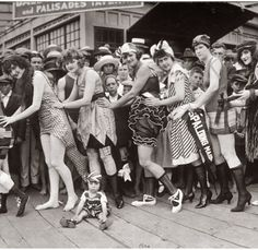 "Annual ""Bathing Girl Parade,"" Balboa Island at Newport Beach, California. June 20, 1920. Panoramic photo by Miles Weaver"