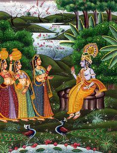 Radha-Krsna Krishna Leela, Krishna Love, Krishna Radha, Phad Painting, Silk Painting, Lord Krishna Images, Krishna Painting, Indian Folk Art, Indian Gods