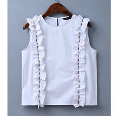 Cheap white blouse, Buy Quality blouse brand directly from China brand blouse Suppliers: Women sweet ruffles beading crop top sexy sleeveless shirt o-neck white blouse ladies summer brand casual tops blusas Women's Summer Fashion, Fashion 2017, Girl Fashion, Fashion Outfits, Fashion Coat, Latest Fashion For Women, Womens Fashion, Moda Vintage, Crop Tops