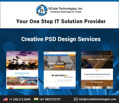 NCode Technologies, Inc. provide ideal PSD design services at affordable rate. Let's give your website a professional touch which it deserve. Our professional website designers are experts in designing creative PSDs for your website.
