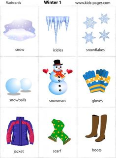 Free printable Winter flashcards--print twice for matching game (use for vocab) Learning English For Kids, Kids English, English Lessons, Teaching English, Learn English, Kids Learning, Winter Fun, Winter Theme, Flashcards For Kids